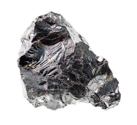 rough sphalerite ( zinc blende) rock cutout on white background