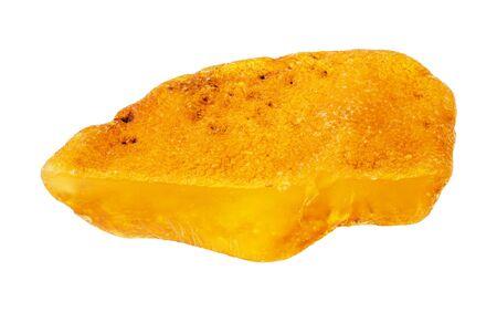 cut raw amber demstone piece cutout on white background