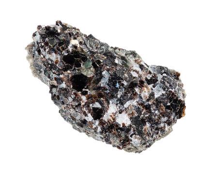unpolished Phlogopite (magnesium mica) mineral on rock cutout on white background