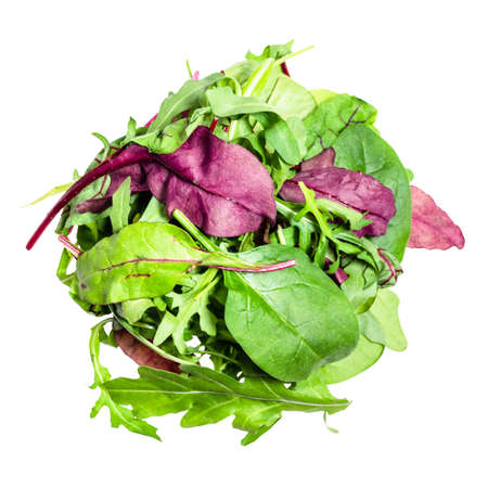 top view of heap of various fresh leaves of leafy vegetables cut out on white background 스톡 콘텐츠