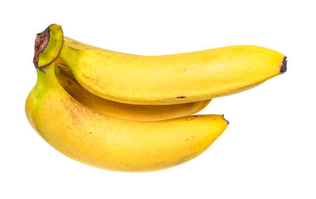 bunch of ripe yellow bananas cut out on white background 스톡 콘텐츠