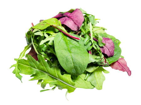 pile of various fresh leaves of leafy greens cut out on white background 스톡 콘텐츠
