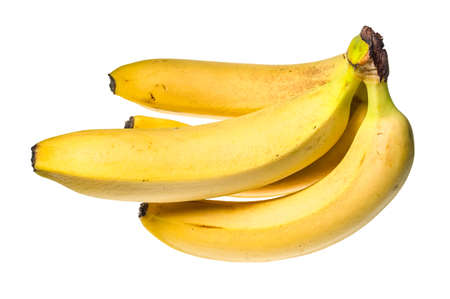 bunch of four ripe yellow bananas cut out on white background 스톡 콘텐츠