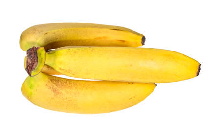 top view of bunch of ripe yellow bananas cut out on white background