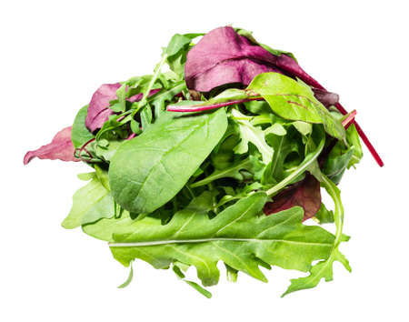 pile of various fresh leaves of leafy vegetables cut out on white background