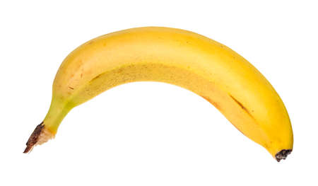 unpeeled ripe yellow banana cut out on white background