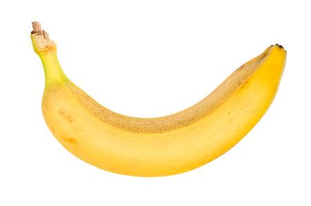 single ripe yellow banana cut out on white background 스톡 콘텐츠