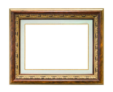 polished and gilded wooden picture frame with passe-partout and blank canvas cutout on white background
