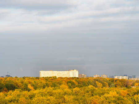 above view of colorful city park and large high-rise house on horizon on sunny autumn day