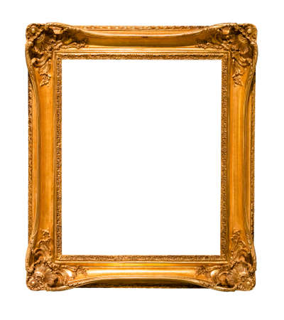vertical decorated baroque picture frame cutout on white background Stok Fotoğraf