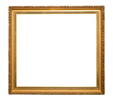 classical golden wooden picture frame cutout on white background