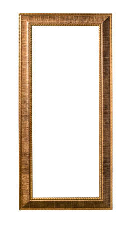 tall wide bronze picture frame cutout on white background