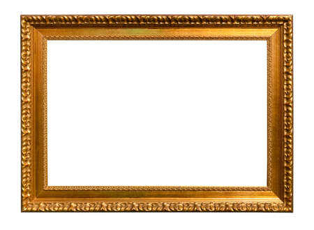 horizontal vintage carved golden wooden picture frame cutout on white background