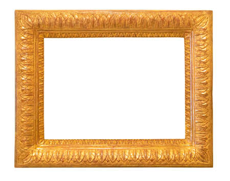 old carved wide picture frame cutout on white background