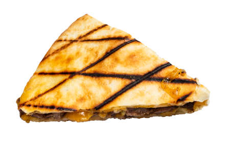 segment of Quesadilla from folded tortilla filled with cheese, meats, spices cutout on white background Stok Fotoğraf