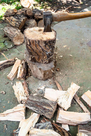 chopped logs and cleaver ax in tree stump in backyard of village Stok Fotoğraf