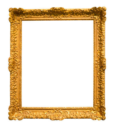 vertical ornamental baroque picture frame cutout on white background