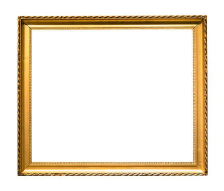 narrow golden wooden picture frame cutout on white background