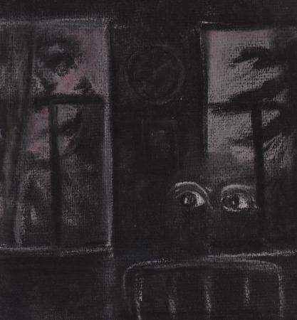 sleeplessness: Notte Due finestre sono visibili nella casa dove l'insonnia cammina