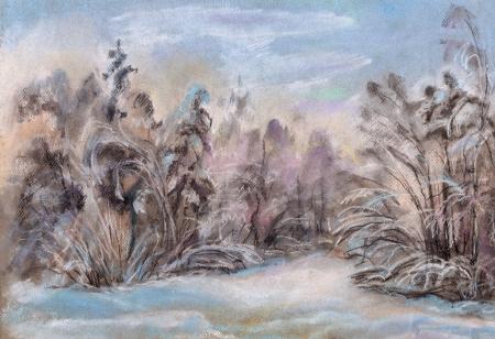 snowdrifts: Winter landscape, wood, snowdrifts, hoarfrost on trees Stock Photo