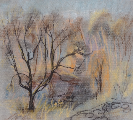 flown: The late autumn, the flown brittle willow