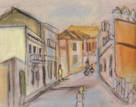 narrow street: Street in a city Terachina Stock Photo