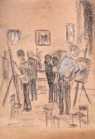 premise: Premise of art studio, artists behind work