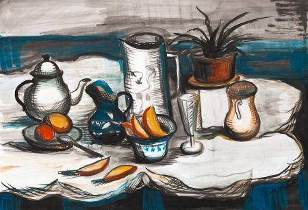 tots: Bread, tots,  and coffee   a still life
