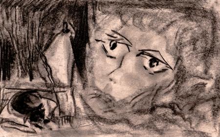 sleeplessness: Il volto della donna esausta con una insonnia Il gatto dorme, dietro una finestra sulla strada lanterna ustioni Archivio Fotografico