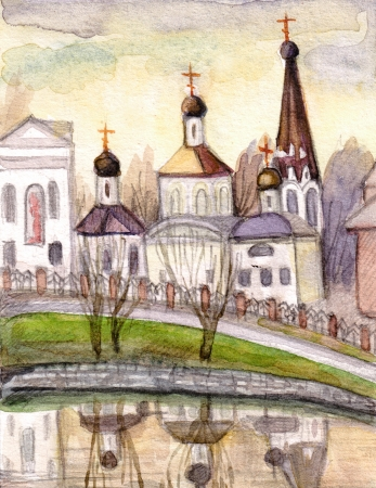 eminence: Ancient church on the small eminence, reflected in lake