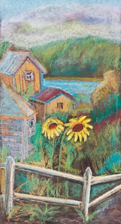 Summer, lake, sunflowers behind a fence photo