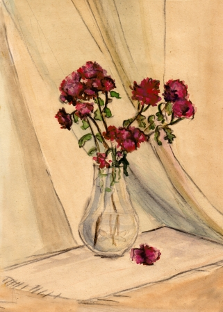 claret: Small claret chrysanthemums in a glass vase