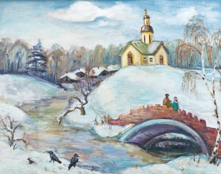 brige: Winter. Brige sobre el r�o congelado