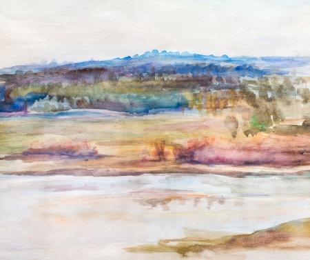 beach panorama: Panorama of beach river Oka, spring,April
