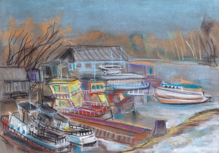 landing stage: Landing stage with the ships and barges. March, the beginning of thawing of snow Stock Photo