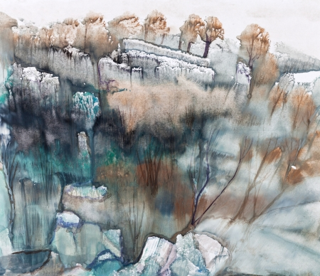landscape painting: Winter landscape, view from height Stock Photo