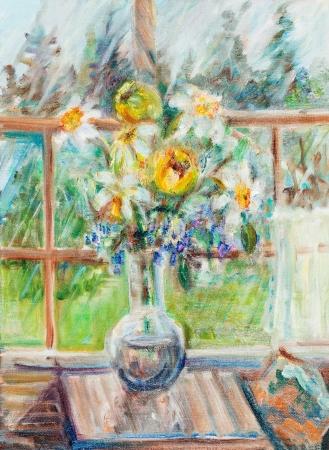 verandah: Bunch of flowers in a glass vase on a summer verandah Stock Photo
