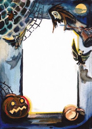 Decorative frame with Halloween pumpkins photo