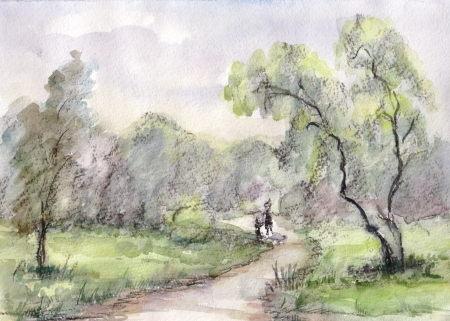 rural road: Summer landscape with willows at rural road