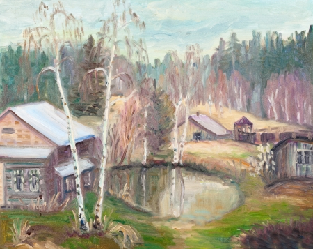 settlement: Spring landscape with old house near pond
