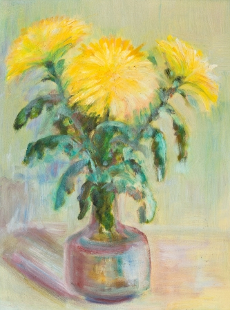 decanter: Yellow autumn chrysanthemums in a decanter Stock Photo