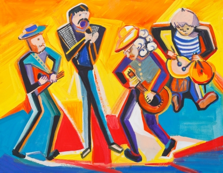 Jazz quartet plays on music instruments
