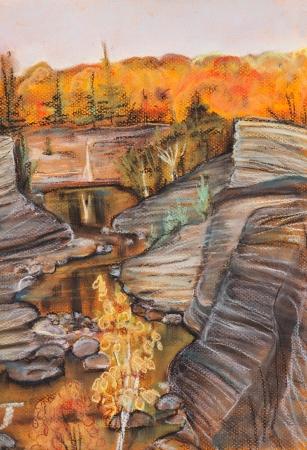 narrow: Narrow river among steep coast on Fall in September