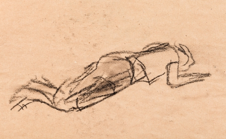 weariness: Sketch coal. Woman having a rest on the ground