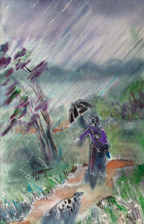bad weather: Bad weather, unexpected rain, woman,cat and dog Stock Photo