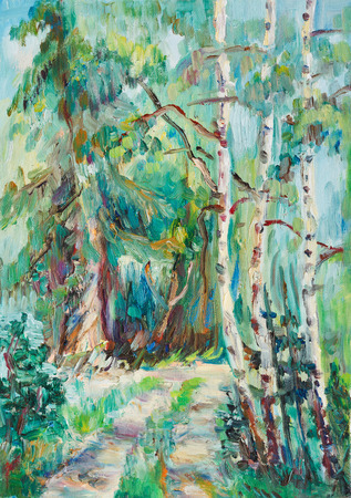 mixed forest: Pathway in the mixed forest, summer afternoon
