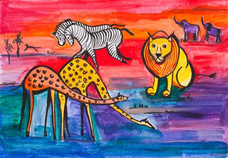 animals in the wild: sunset in savanna, animals, wild life Stock Photo