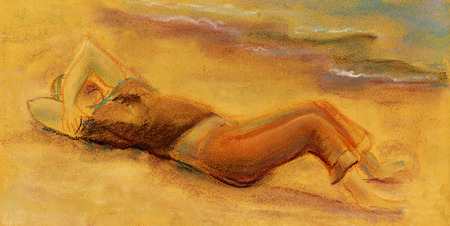 warmness: Woman has a rest at beach