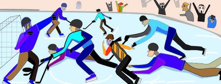 brawl: Hockey by eyes of woman  Brawl near hockey net Illustration