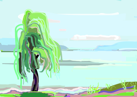 lone: Lone willow on coast of large lake, summer Illustration